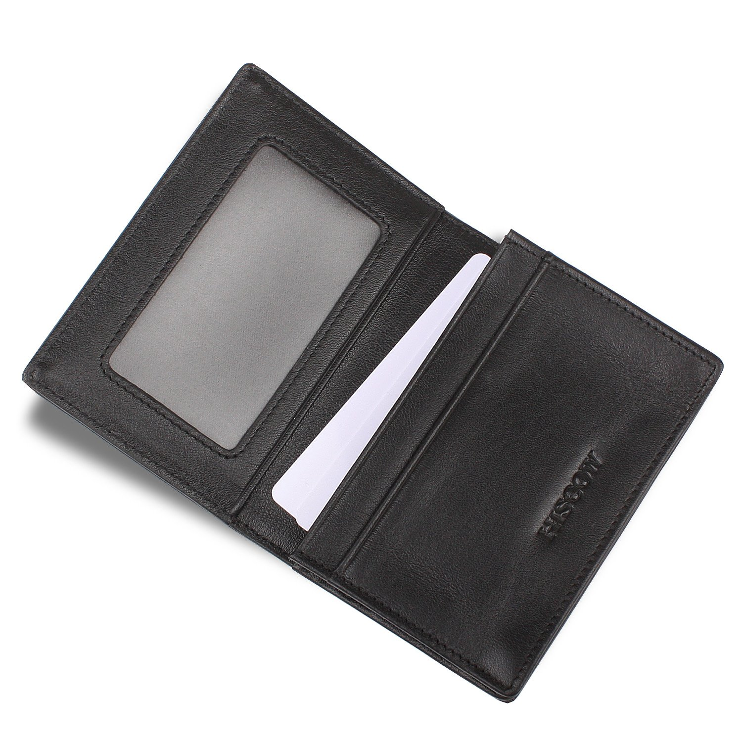 HISCOW Men's Business Card Holder with Large Compartment - Italian Calfskin by HISCOW (Image #5)