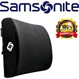 Samsonite SA6041 - Soft Plush Lumbar Support Pillow - Helps Relieve Lower Back Pain - 100% Pure Memory Foam - Improves Posture - Fits Most Seats - Washable Cover - Adjustable Strap