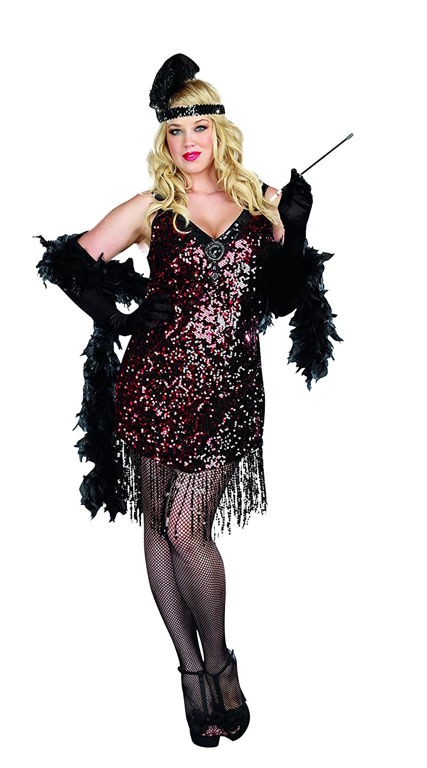 1920s Costumes: Flapper, Great Gatsby, Gangster Girl Dreamgirl Womens Plus-Size Dames Like Us Costume $66.92 AT vintagedancer.com