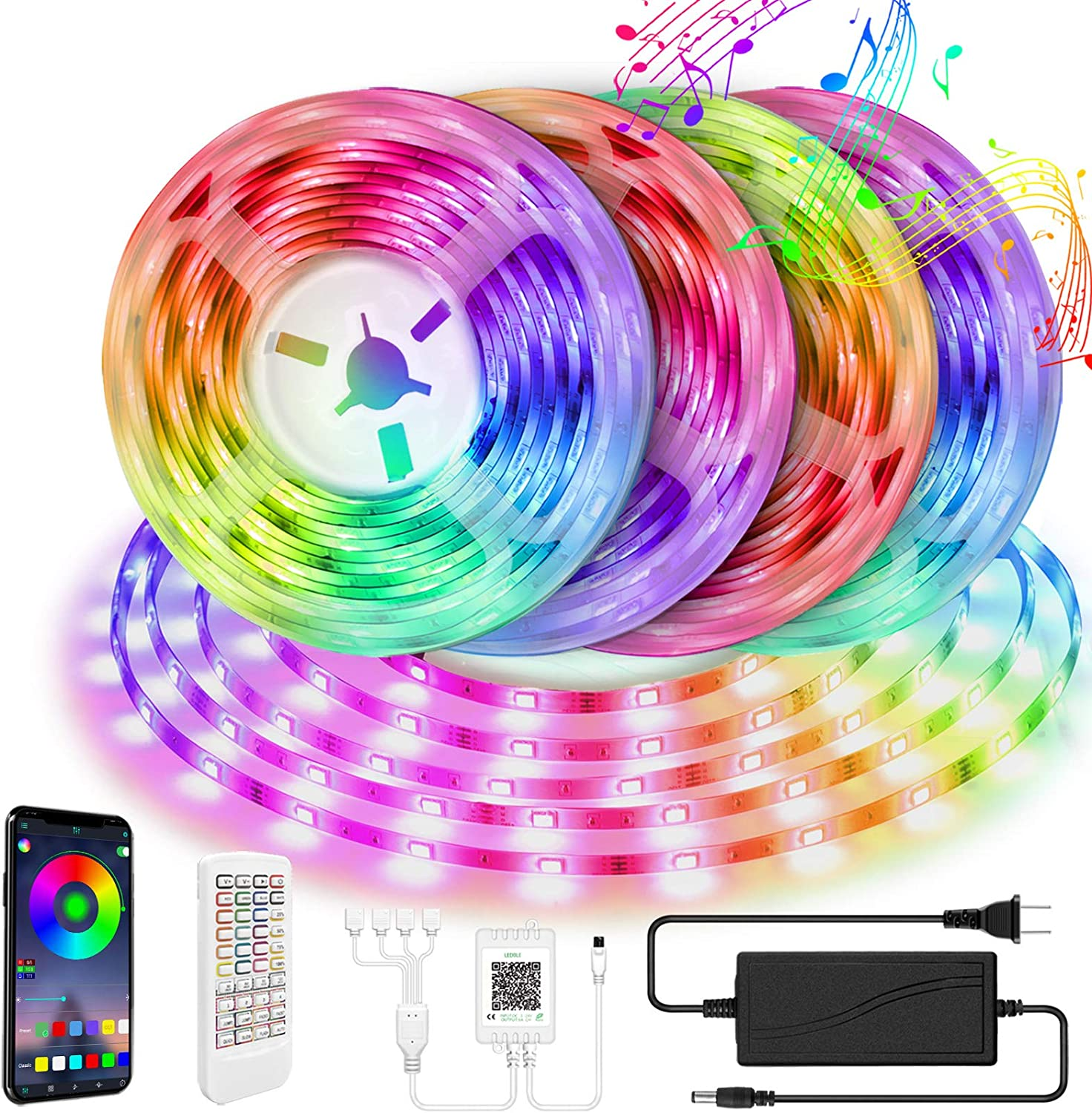 LED Strip Lights,65.6ft 4X16.4ft MOFUT Smart Led Lights 5050 RGB Led Light Strip Color Changing Led Strips with Bluetooth Controller Sync to Music Apply for TV Bedroom,Kitchen,Party,Bar and Home Decor