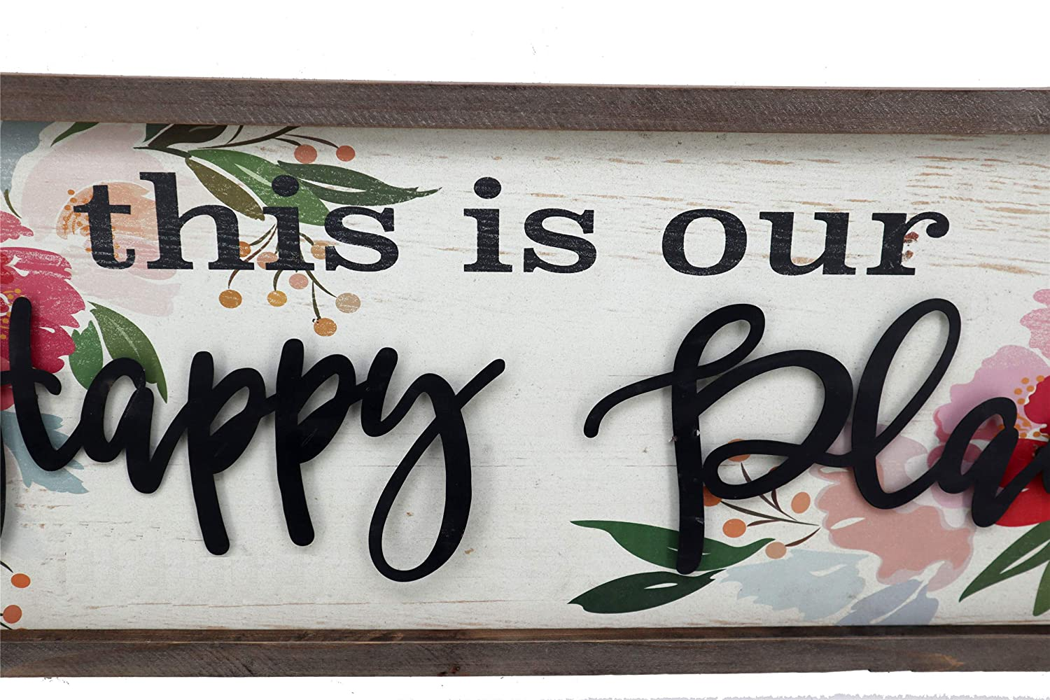 Parisloft This Is Our Happy Place Wood Framed Sign Floral Background 3d Metal Quote Large Wood Wall Decor 31 5 X 1 X 11 8 Inches This Is Our Happy
