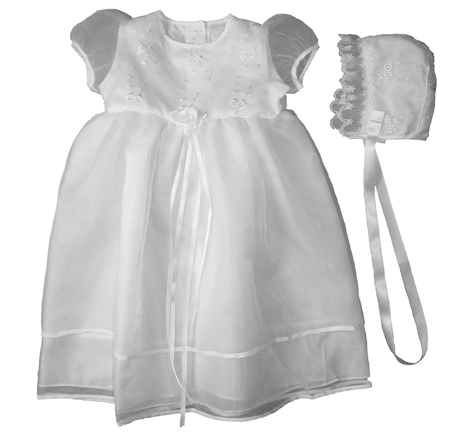 Christening Day White Sheer Organza Christening Gown with Embroidered Bodice c014