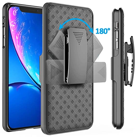 watch c7c47 55d48 Comsoon iPhone XR Case Holster, [Heavy Duty Protection][Belt  Clip][Kickstand] 2 in 1 Slim Hard Shell Cover with 180 Degree Swivel Belt  Clip Holster ...