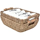 "StorageWorks Hand-Woven Large Storage Baskets with Wooden Handles, Seagrass Wicker Baskets for Organizing, 15"" x 10.6"" x…"