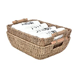 "StorageWorks Hand-Woven Large Storage Baskets with Wooden Handles, Seagrass Wicker Baskets for Organizing, 15"" x 10.6"" x 5.3"", 2-Pack"