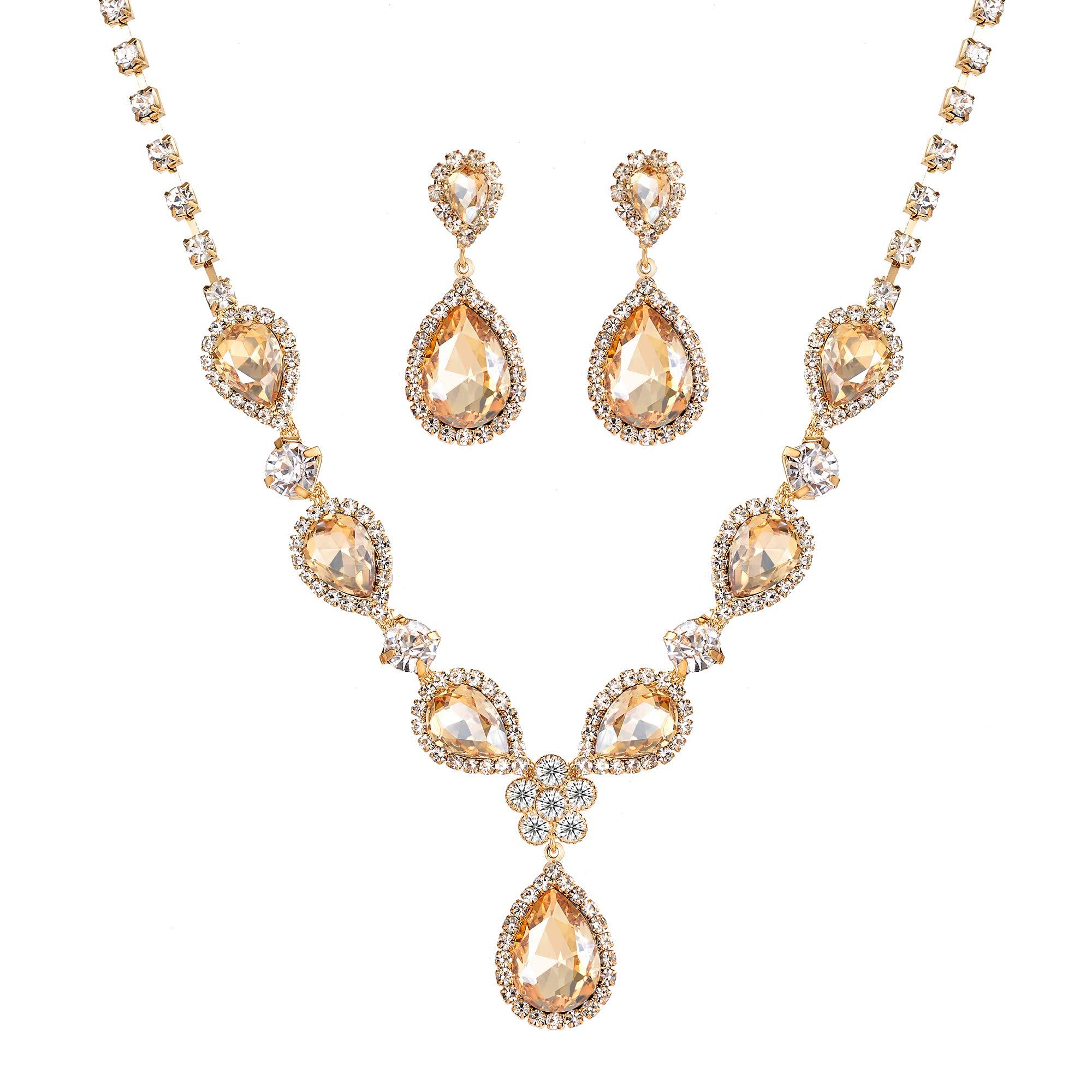Miraculous Garden Bridal Gold Plated Teardrop Crystal Necklace and Earrings Jewelry Set Gifts fit with Wedding Dress