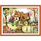 Benway Counted Cross Stitch Cottage With Colorful Flowers Steps And Trees 14 Count 45cm X 35cm