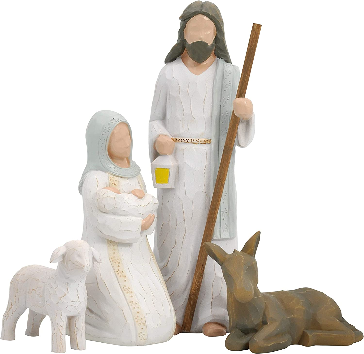 Christmas Story Set - Sculpted Style with Joseph, Mary Hold Baby Jesus, Donkey and a Lamb for Holiday Decoration and Christmas Eve Decor