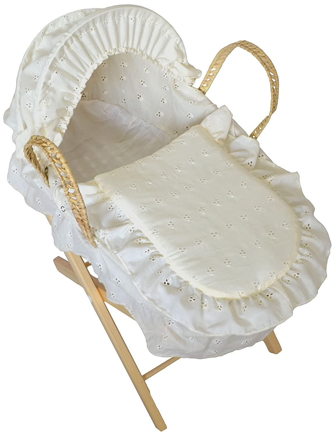 Cuddles Collection Dolls Moses Basket Cream Embroidery Anglaise with Stand CCU10531