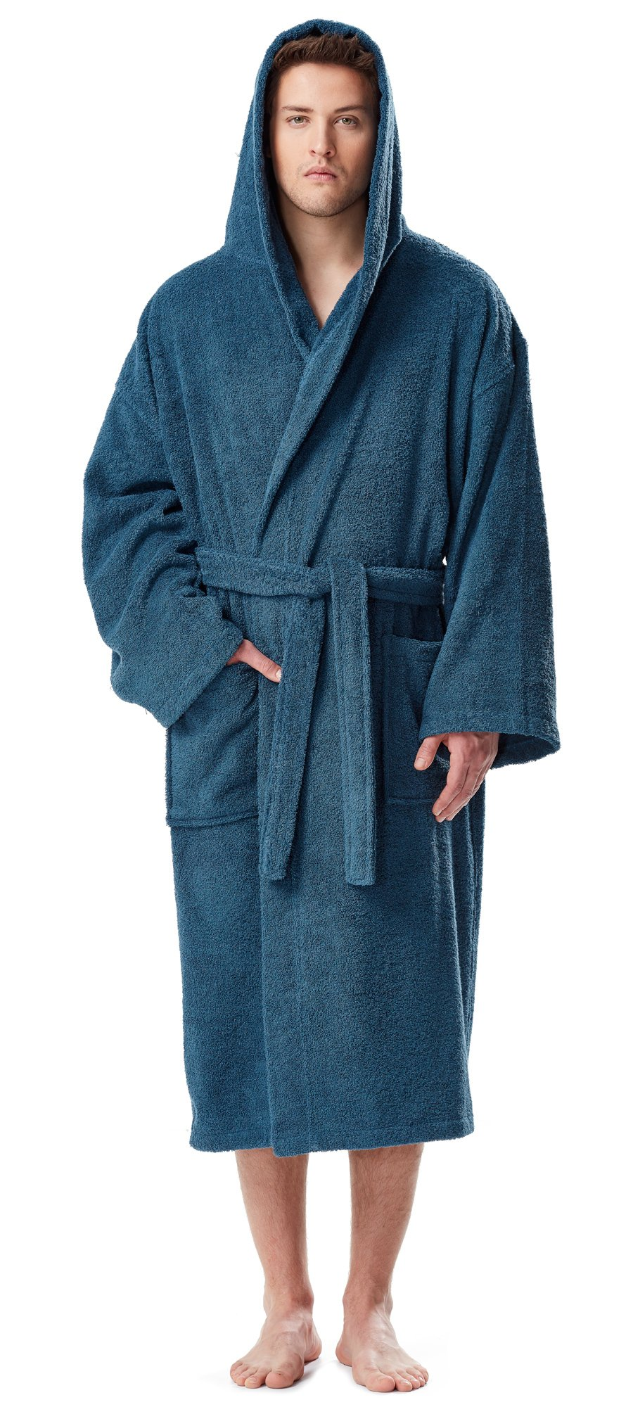 Arus Men's Classic Hooded Bathrobe Turkish Cotton Terry Cloth Robe (S/M,Ocean Blue)