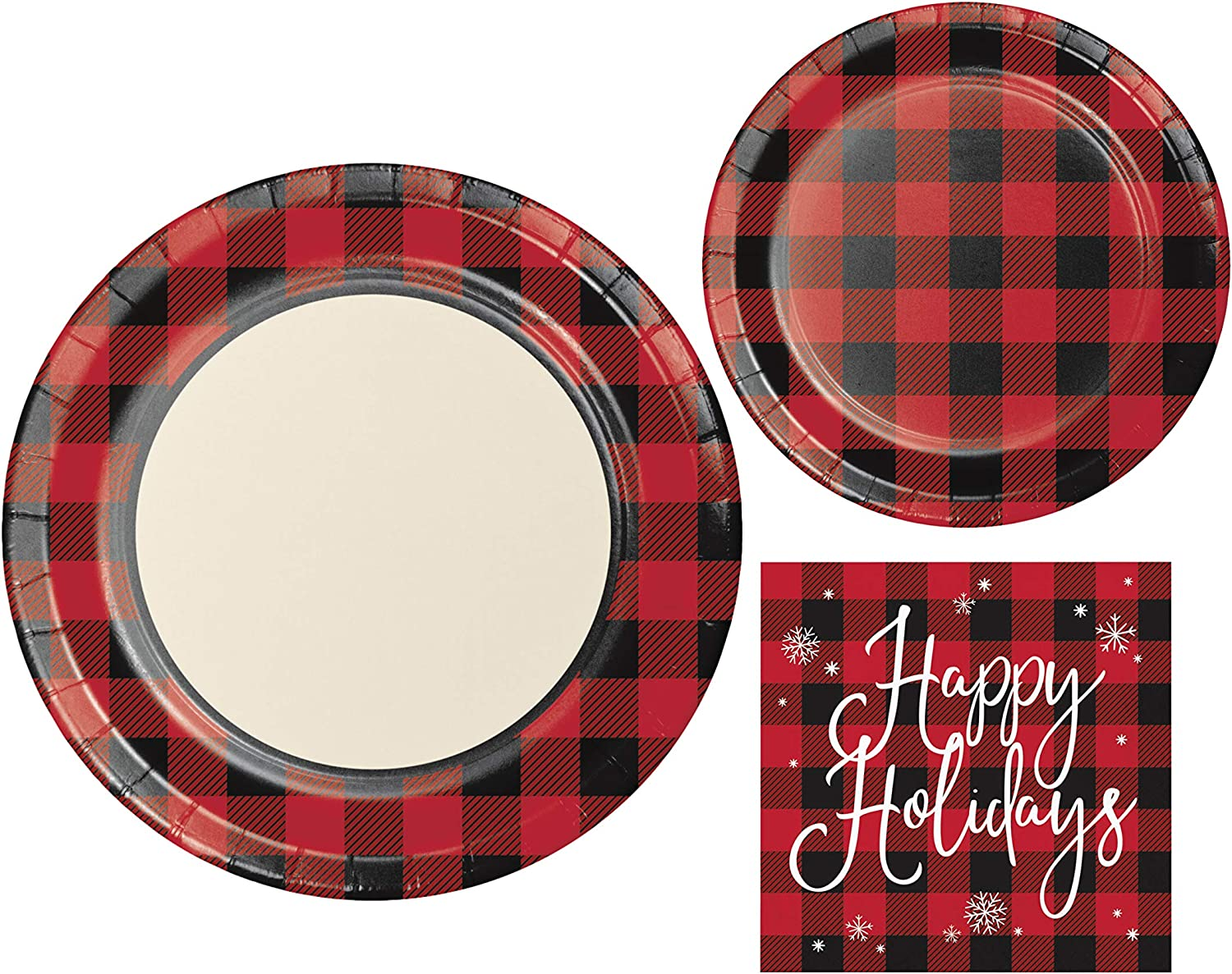 Holiday Buffalo Plaid Red and Black Party Supplies | Bundle Includes Plates and Napkins for 8 Guests