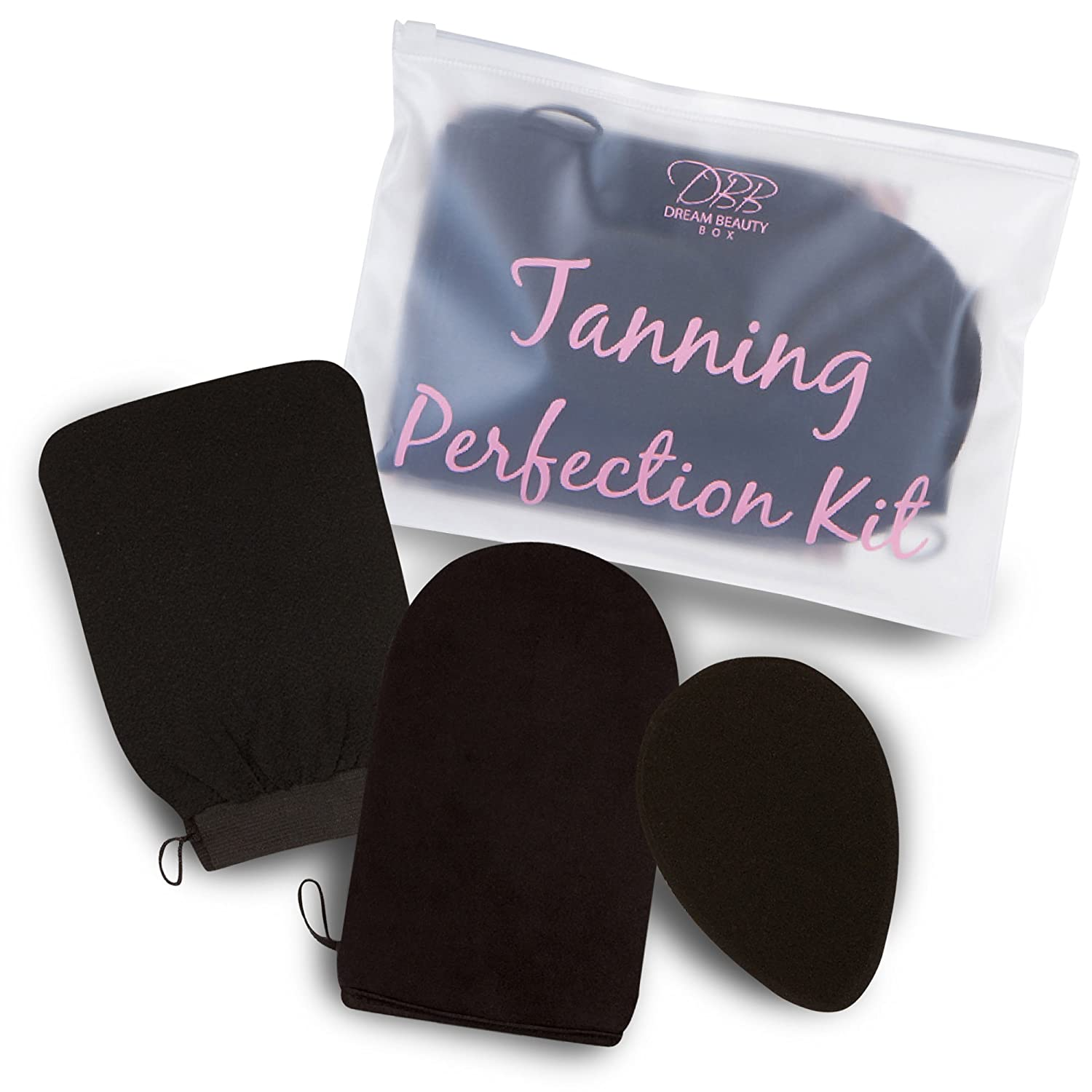 Dream Beauty Box Self Tanning Applicator Mitt - Including Tan Exfoliator/Remover Glove & Body Blender Sponge - The Ultimate Kit For A Streak-Free, Sunless Tan! BONUS Waterproof Travel Bag