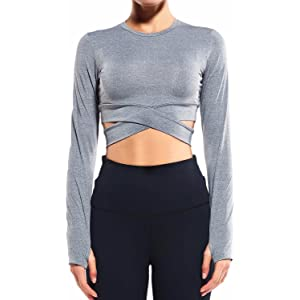 65976b6a7f22 COLO Long Sleeve Crop Tops for Women - Activewear Workout Yoga Gym Top  Lounge T Shirts