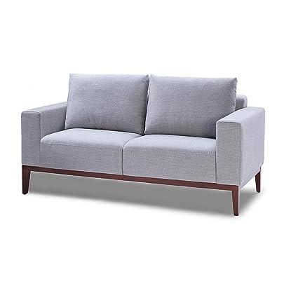 Fine Amazon Com Cortesi Home Roma Loveseat In Soft Grey Fabric Frankydiablos Diy Chair Ideas Frankydiabloscom