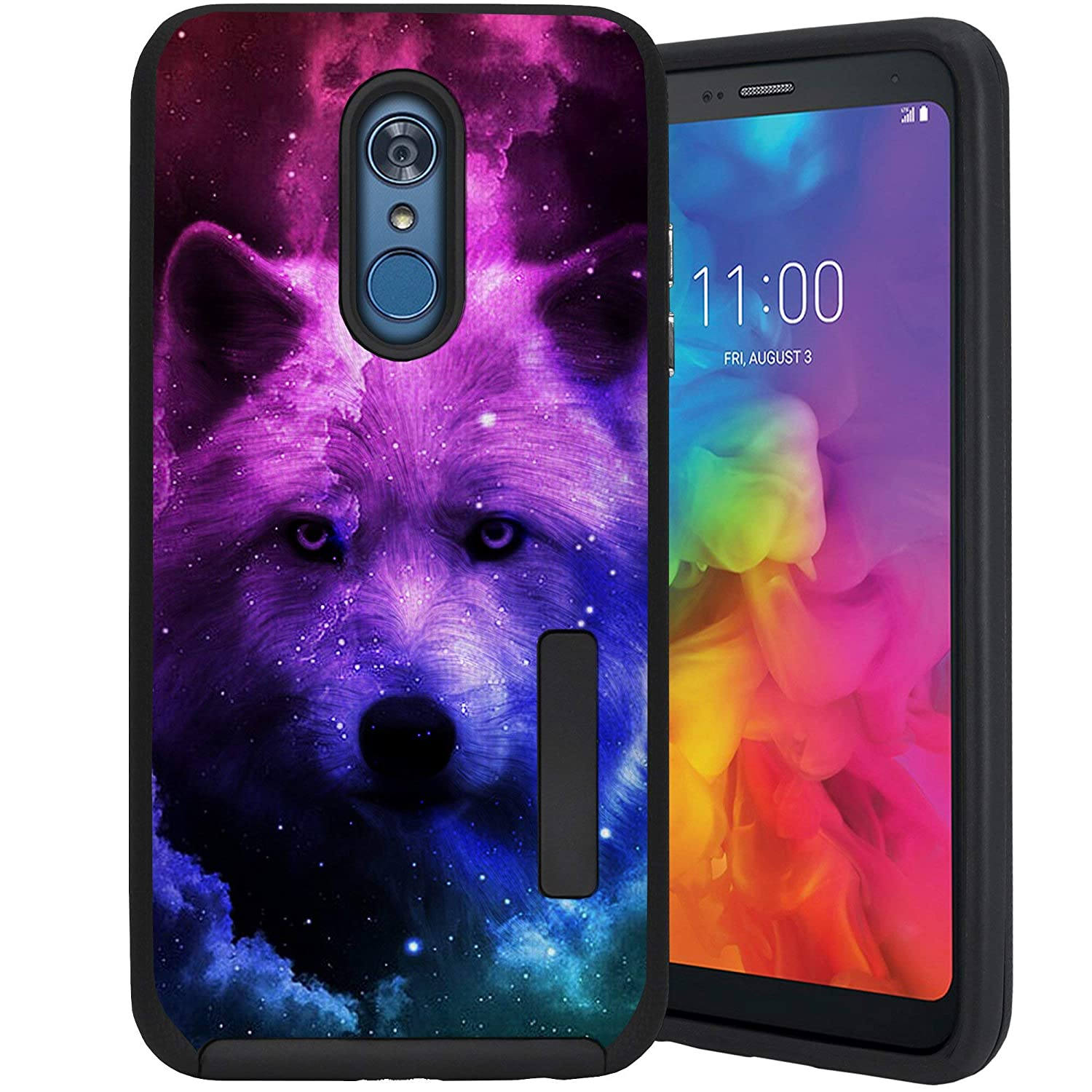 CasesOnDeck Case Compatible with [LG Q7 / LG Q7+ / LG Q7 Plus][Grip Tactical] Dual Layer Rubberized Shock Shell Inner TPU Soft Interior (Galaxy Wolf)