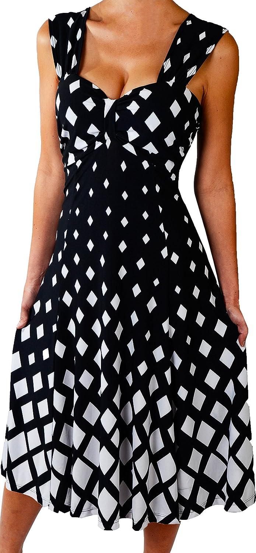 e6e28f31a9 Funfash Plus Size Women Black White Slimming A Line Midi Cocktail Cruise  Dress  Amazon.ca  Clothing   Accessories