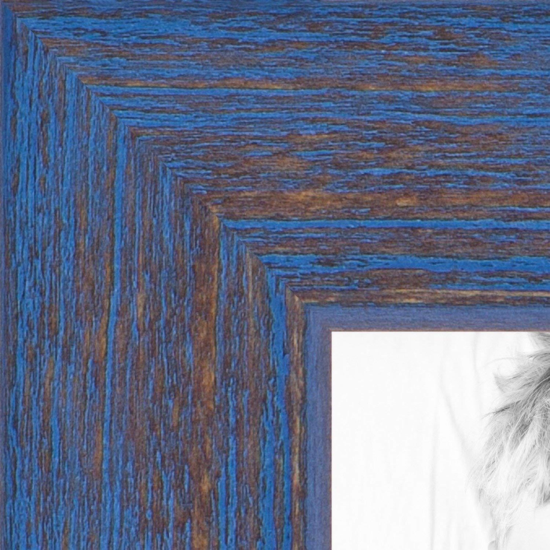 ArtToFrames 8x24 inch PeriwinkleRustic Barnwood Wood Picture Frame, 2WOM0066-77900-YBLU-8x24, 8 x 24, Blue