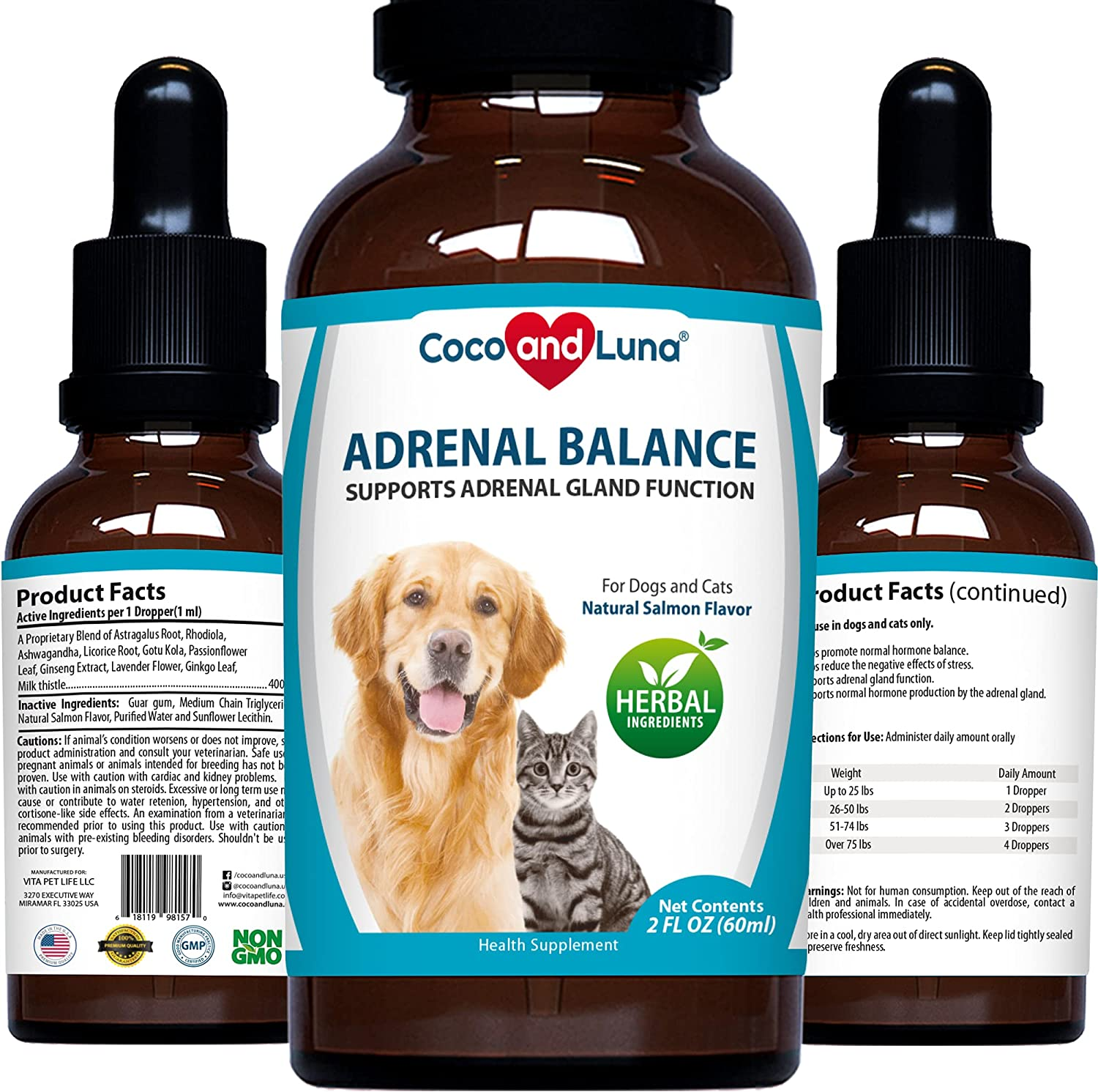 Adrenal Balance for Dogs and Cats - Cushings Treatment for Pets - with Ashwagandha - 2oz (60ml)
