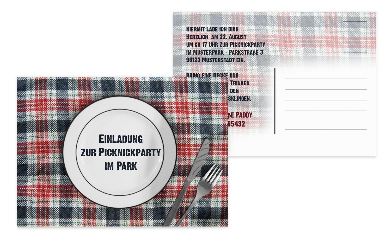 Einladung Sommerfest Picknickdecke, 60 Karten, HellBlau B073H4XGLW | Die Die Die Farbe ist sehr auffällig  | Online Shop  | Stabile Qualität  db54a0