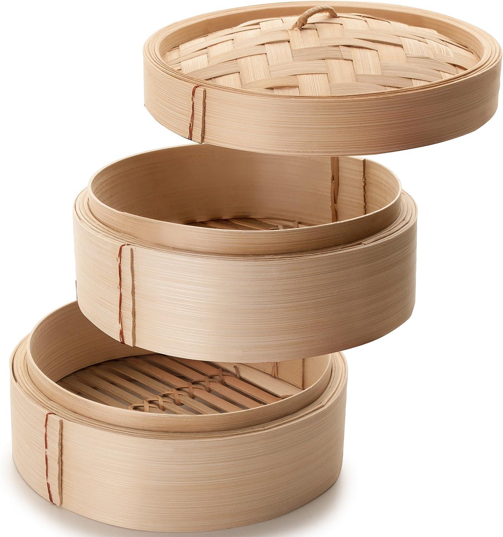3-Einheiten braun 20 cm Ibili Dampfgarer-Set Bambus