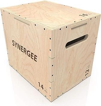 Synergee 3 en 1 caja de madera pliométrico para salto adiestramiento y acondicionamiento. Tamaño - 16/14/12: Amazon.es: Deportes y aire libre