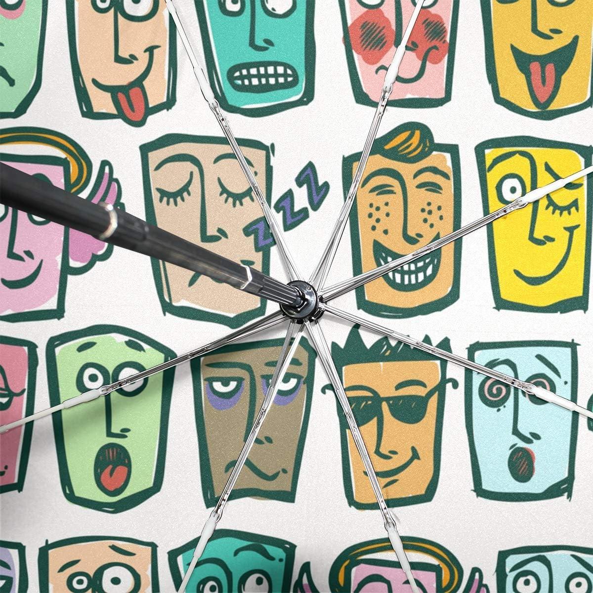 Black Glue Anti UV Coating Compact Travel Umbrella for women men ANINILY Abstract Facial Expression Mask Folding Umbrella Windproof Auto Open Close