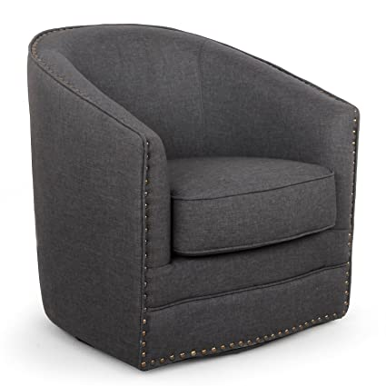 Upholstered Swivel Tub Chair, Nail Head Trim Detail, Durable Construction,  Medium Height