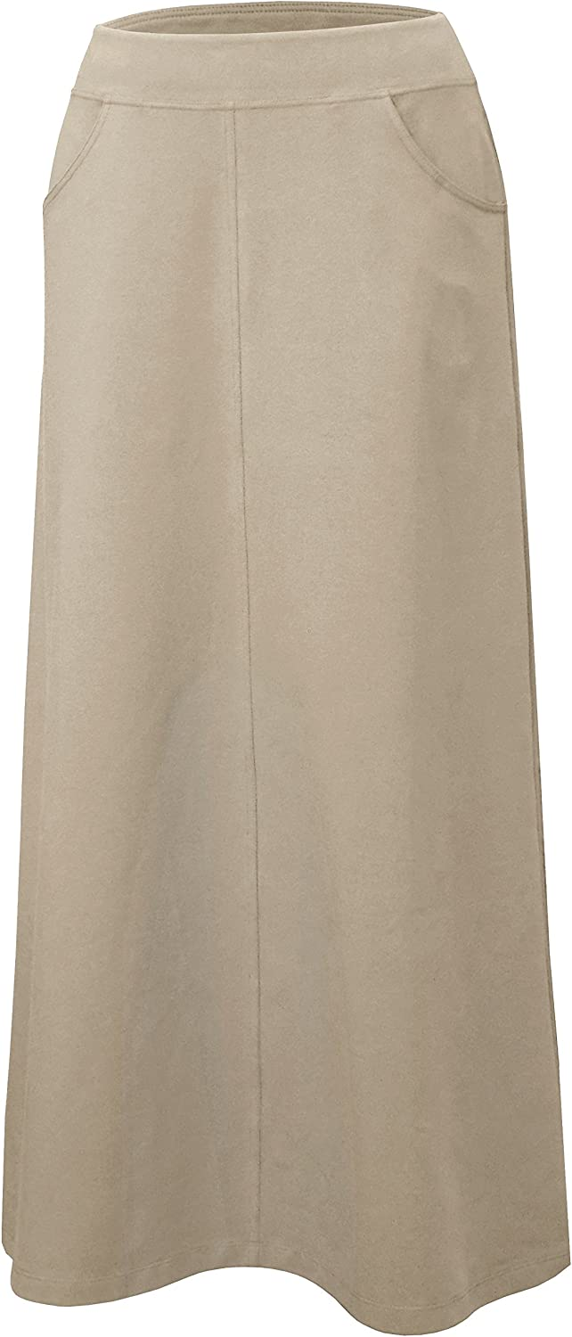 Baby'O Women's Stretch Cotton Knit Western Style A-Line Maxi Skirt