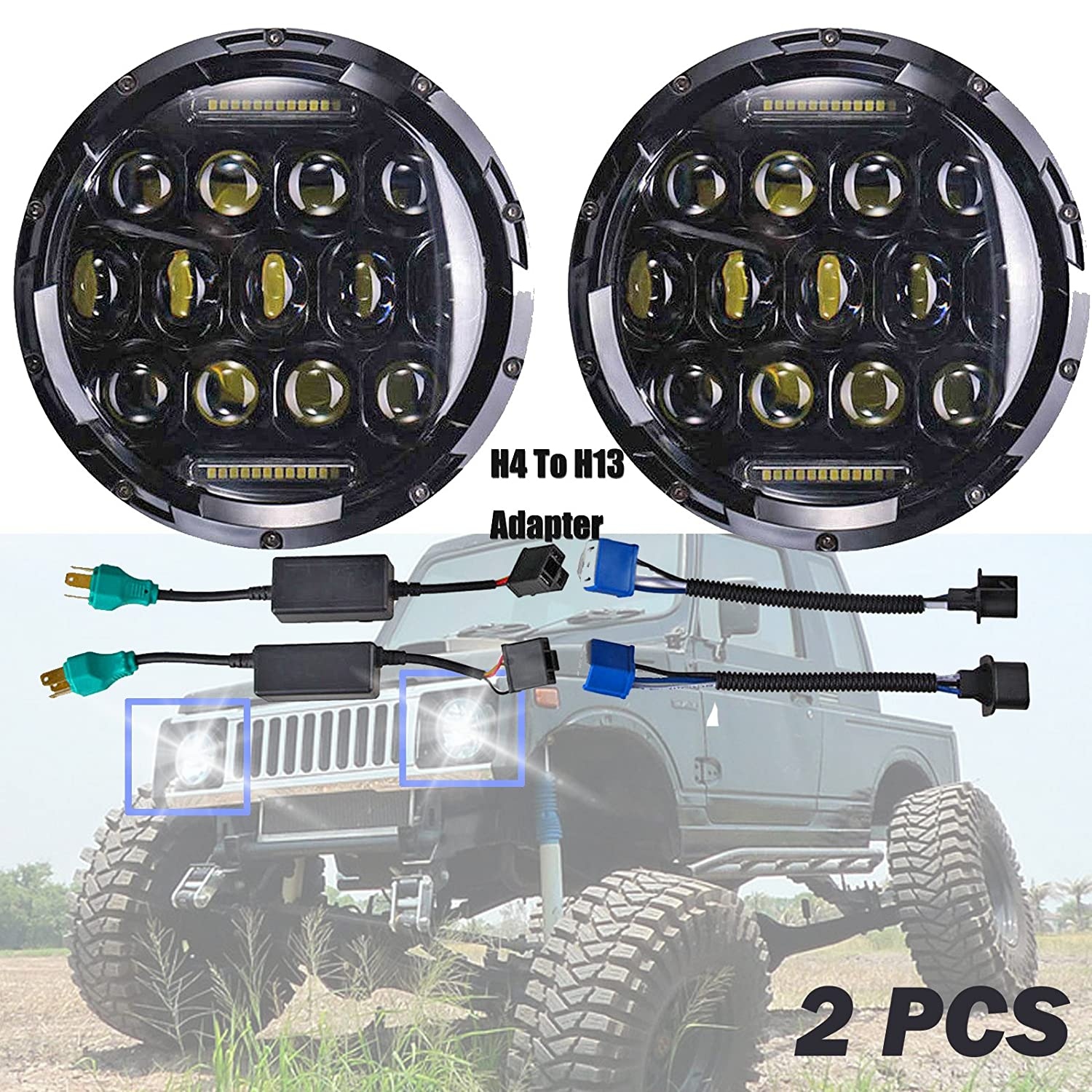 H6024 H4 H13 Led Headlights For Suzuki Samurai Sj410 7 Drl Fuse Box 2003 Peterbilt Inch Round High Low Sealed Beam Projector Lens 6000k Headlamp Fog Light Replacement