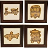 Craftghar® Coasters set of 4 for office or dining table wooden with Embroidery & Patch Work on Cloth | Coasters for coffee table set of 4