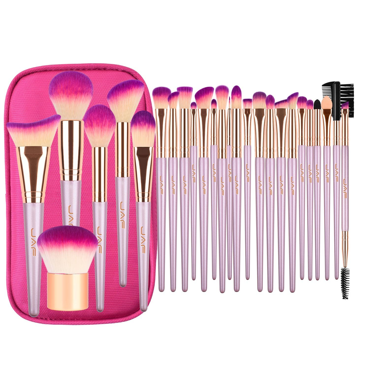 Makeup Brush Set, JAF 26pcs Vegan Cruelty Free Cute Rose Gold Professional Makeup Brushes Set Essential Cosmetic Makeup Brushes for Powder Foundation Blush Contour Concealer
