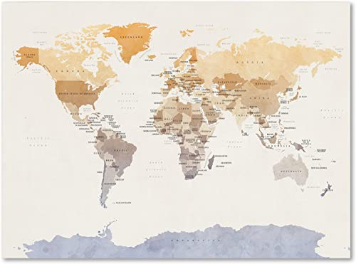 Watercolour Political Map of the World