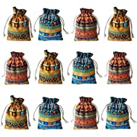 Gold Fortune 12PCS Egyptian Style Jewelry Coin Pouches Aztec Print Cotton Drawstring Gift Bags