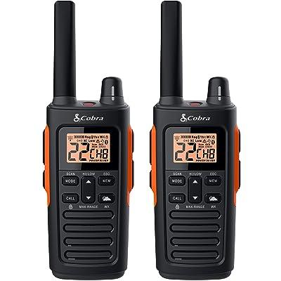 COBRA RX680 2 Watt Rugged Walkie Talkies - Waterproof & Dustproof, Rechargeable, Long Range up to 38-Mile Two Way Radio with NOAA Weather Alert & VOX (2 Pack)