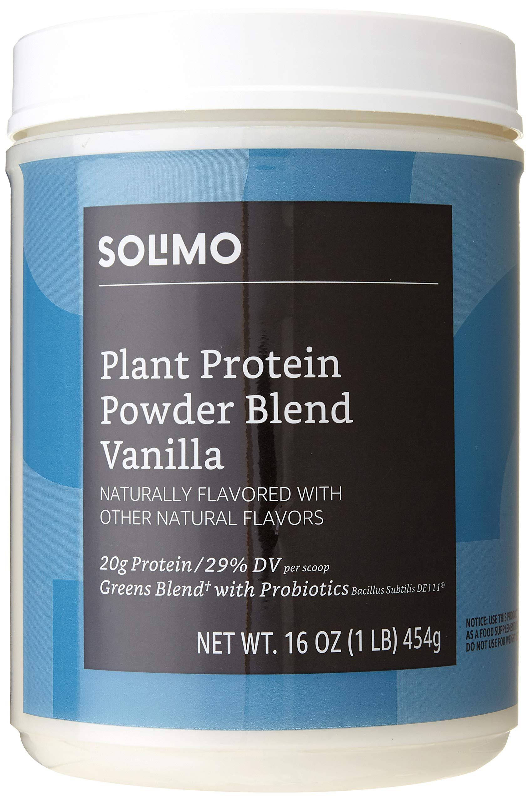 Amazon Brand - Solimo Plant Protein Powder Blend, Vanilla, 1 Pound, 13 Servings
