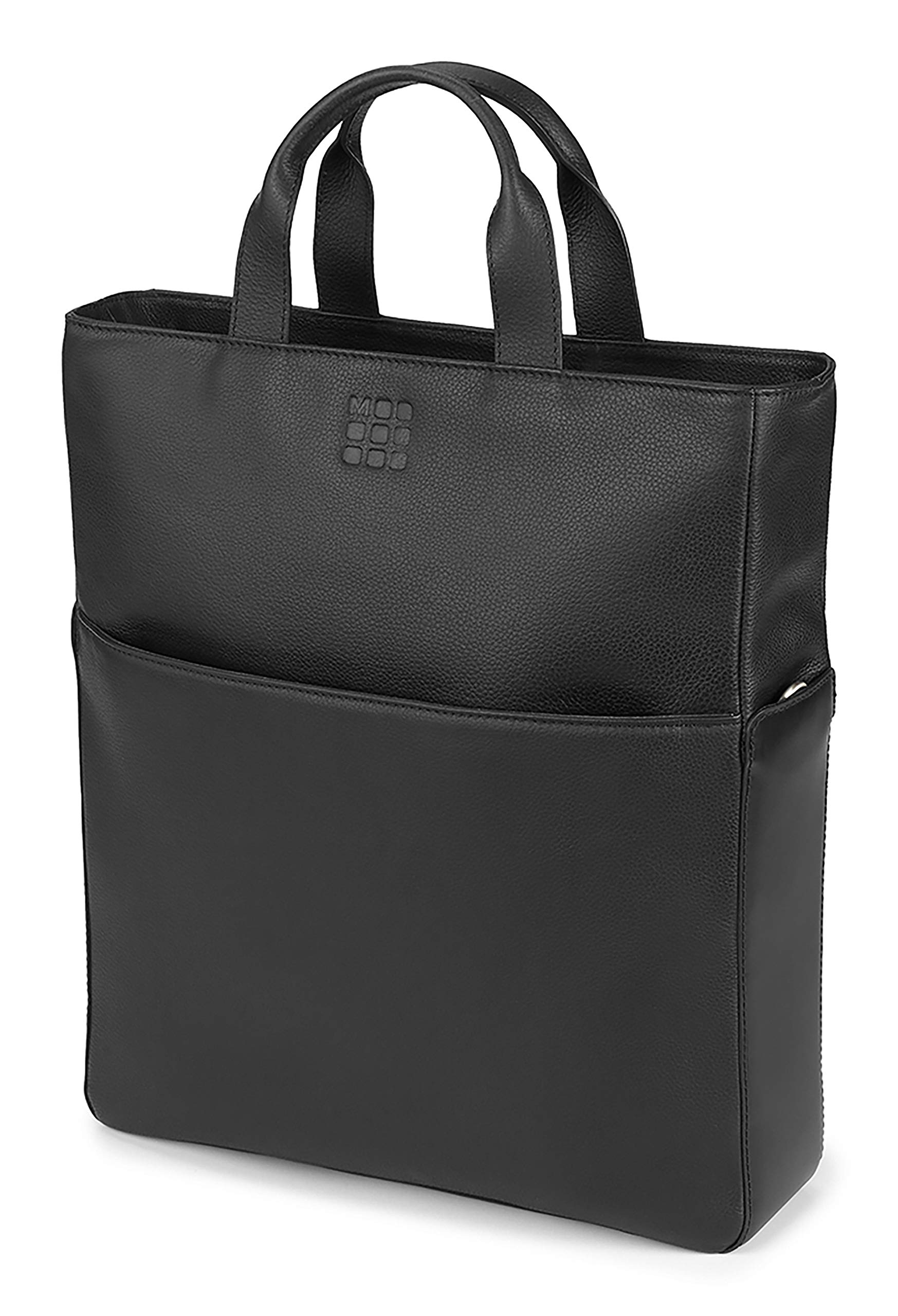 Moleskine Classic Leather Vertical Shopper, Black -  For Work, School, Travel, Everyday Use, Space for Tablet, Laptop, & Chargers, Notebook Planner or Organizer, Padded Adjustable Straps Secure Zipper