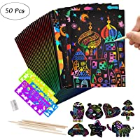 Scratch Paper for Kids, Amatt 50 Pcs Scratch Art Notes Paper Combo Art Set Rainbow Art Doodle Pad Colorful with with 5 Wooden Stylus and 4 Drawing Template Stencil Rulers and 1 Pencil Sharpener