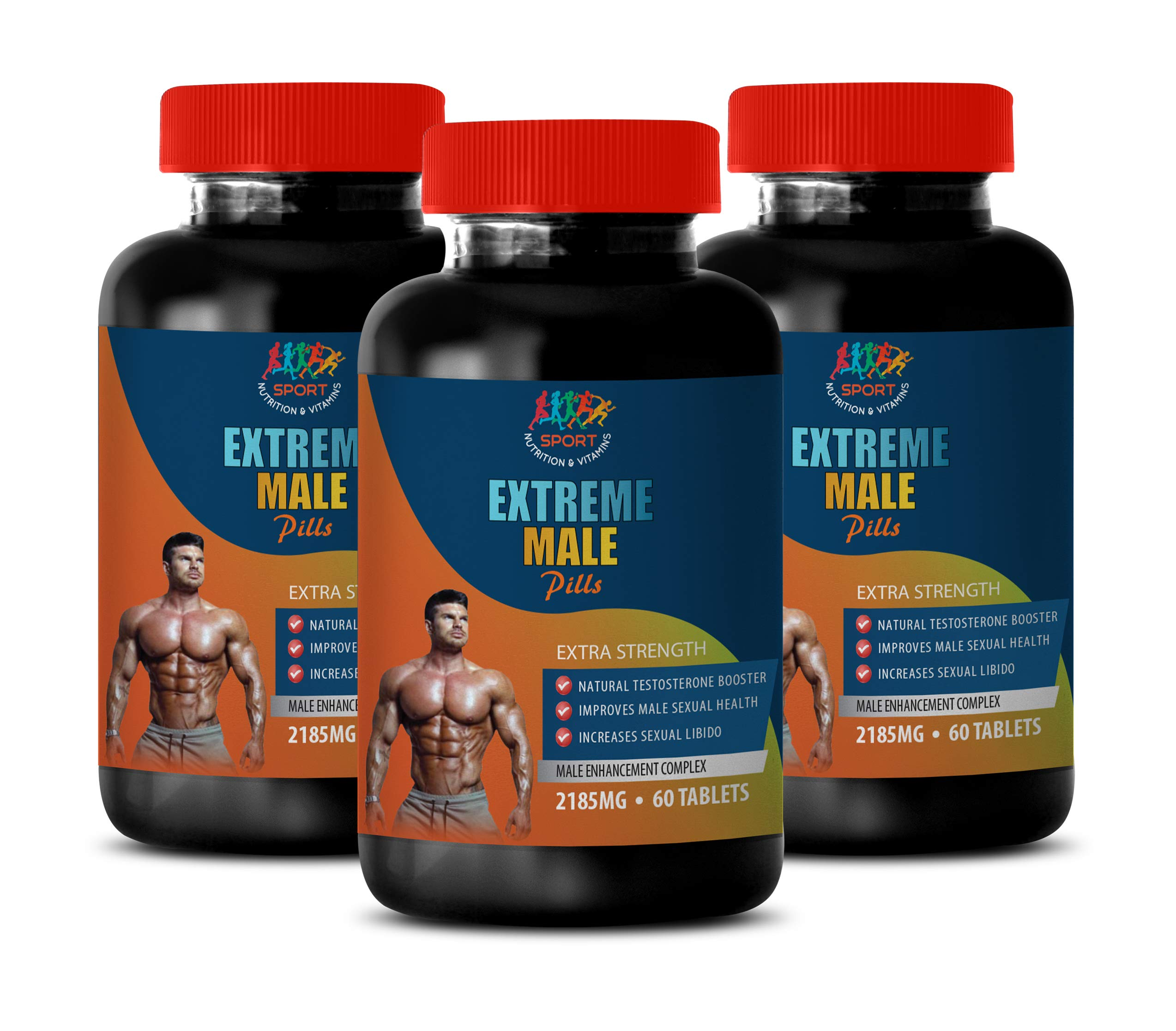 libido Booster for Men Sex - Extreme Male Pills - Extra Strength - Muira puama Herbal Supplements - 3 Bottles 180 Tablets by Sport Nutrition & Vitamins USA