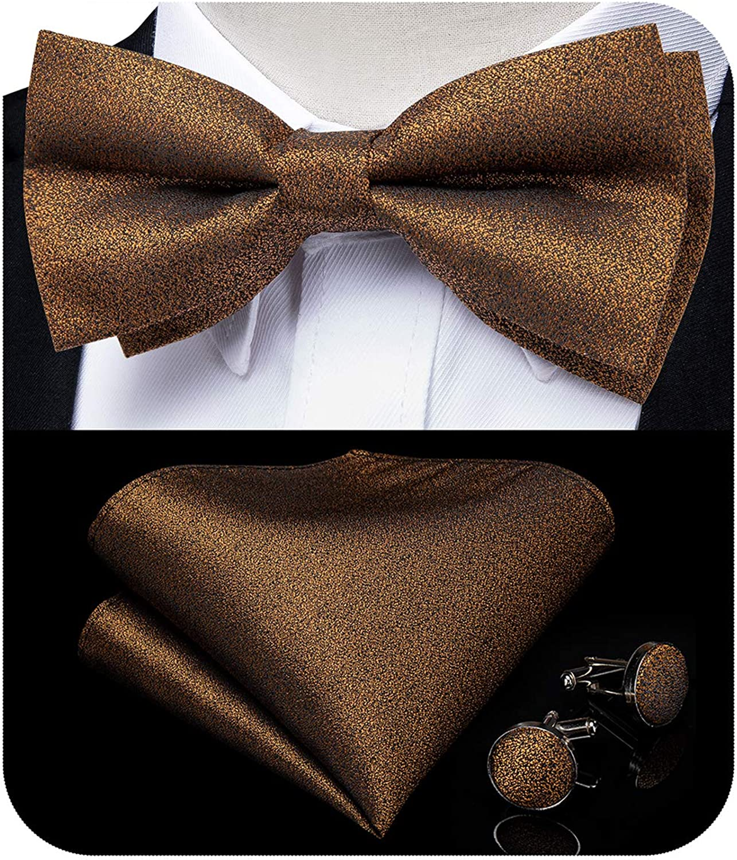 Ensemble de n/œud papillon en soie solide avec boutons de manchette carr/és de poche pour homme DiBanGu