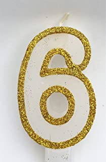 Wasiwax Gold Glitter Birthday Number Candles