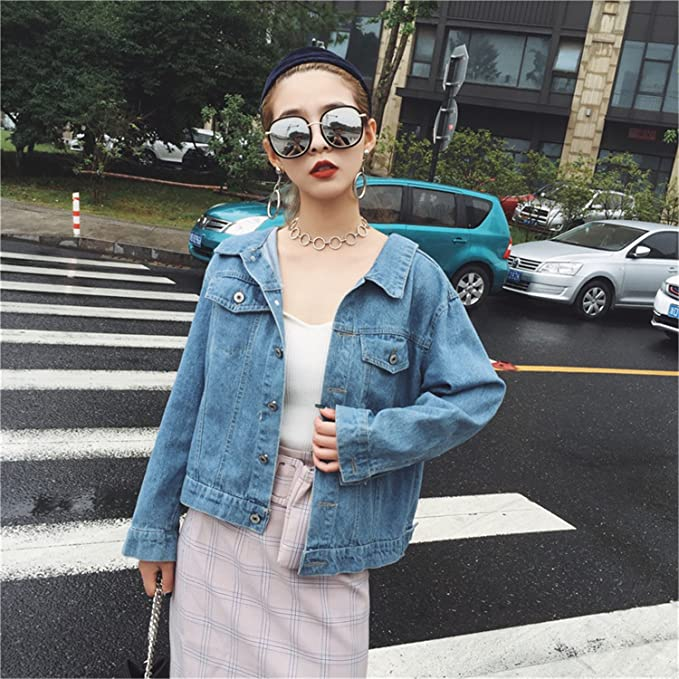 Henraly Autumn Women New Sexy Back Lace-up Design Blue Washed Short Jeans Jackets Streetwear Loose Coat at Amazon Womens Coats Shop