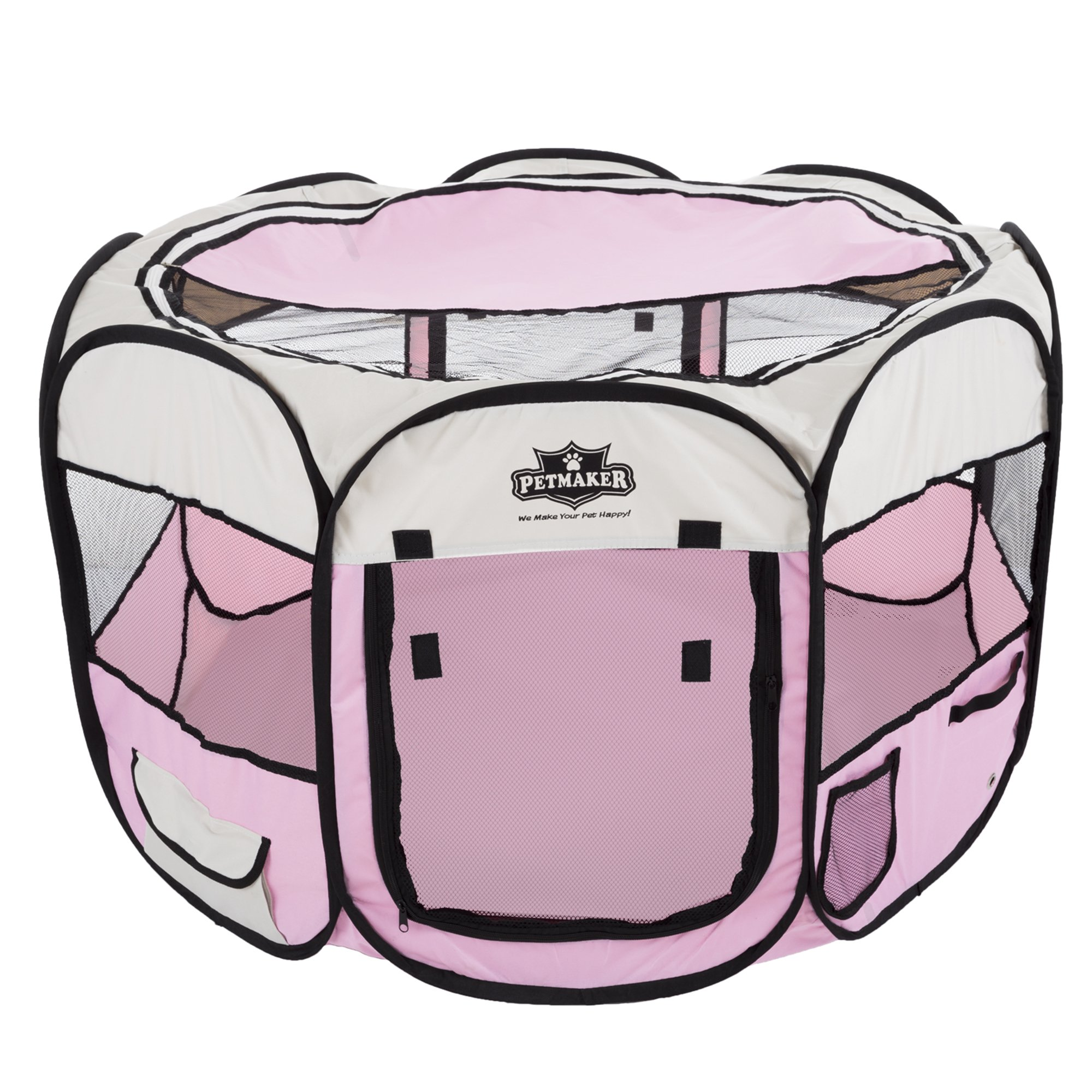 PETMAKER Portable Pop up Pet Play Pen with Carrying Bag 38in Diameter 24in Pink