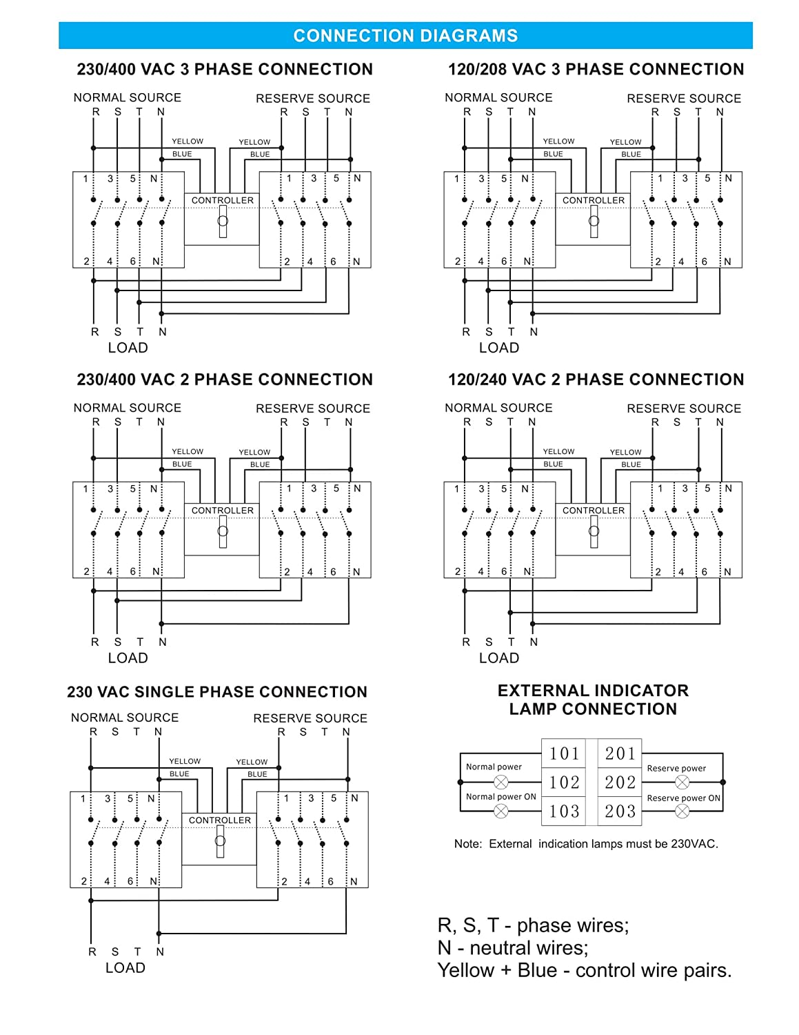 Elpro Ats 63a 120 208v 50 60hz Automatic Transfer Changeover Switch 240v 1 Phase Wiring Diagram 3 4p Business Industry Science