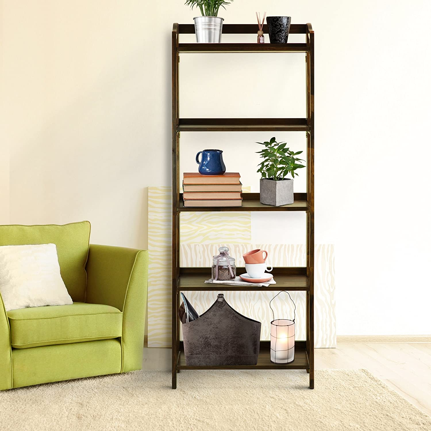 Casual Home 337-54 Stratford 5-Shelf Folding Bookcase-Warm Brown