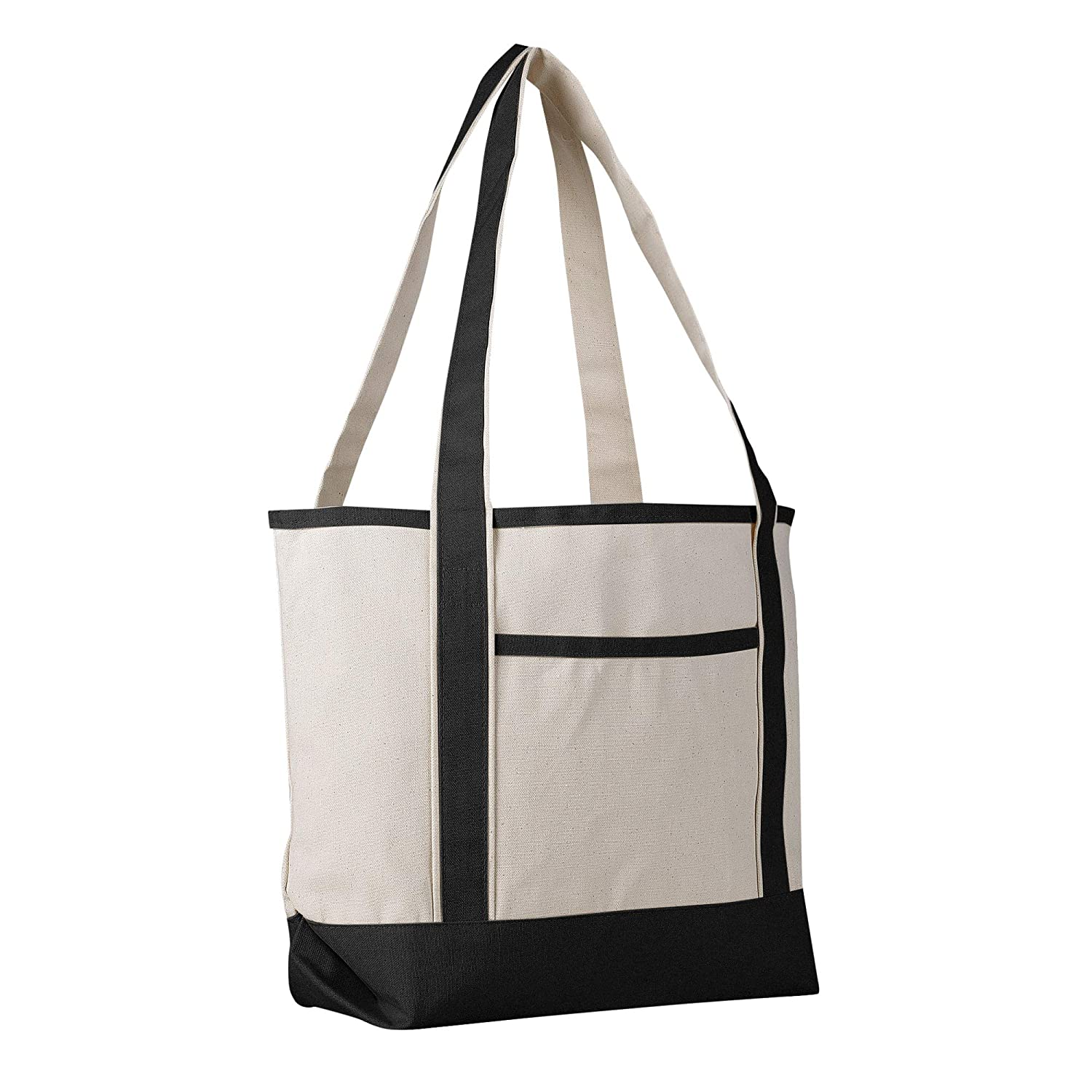 9841ea2652abfd Canvas Boat Tote Bag - 18 inch - Wide Heavy Duty Sturdy & Reusable with  Inside Zipper Pocket Cotton Canvas Beach Weekender Travel Luggage Totes for  Women, ...