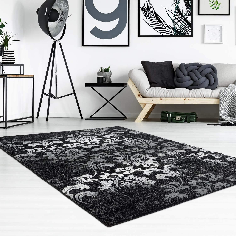 carpet city Teppich Flachflor Inspiration mit Floralen Muster, Ornamente in Schwarz, Weiß für Wohnzimmer, Größe: 160x230 cm