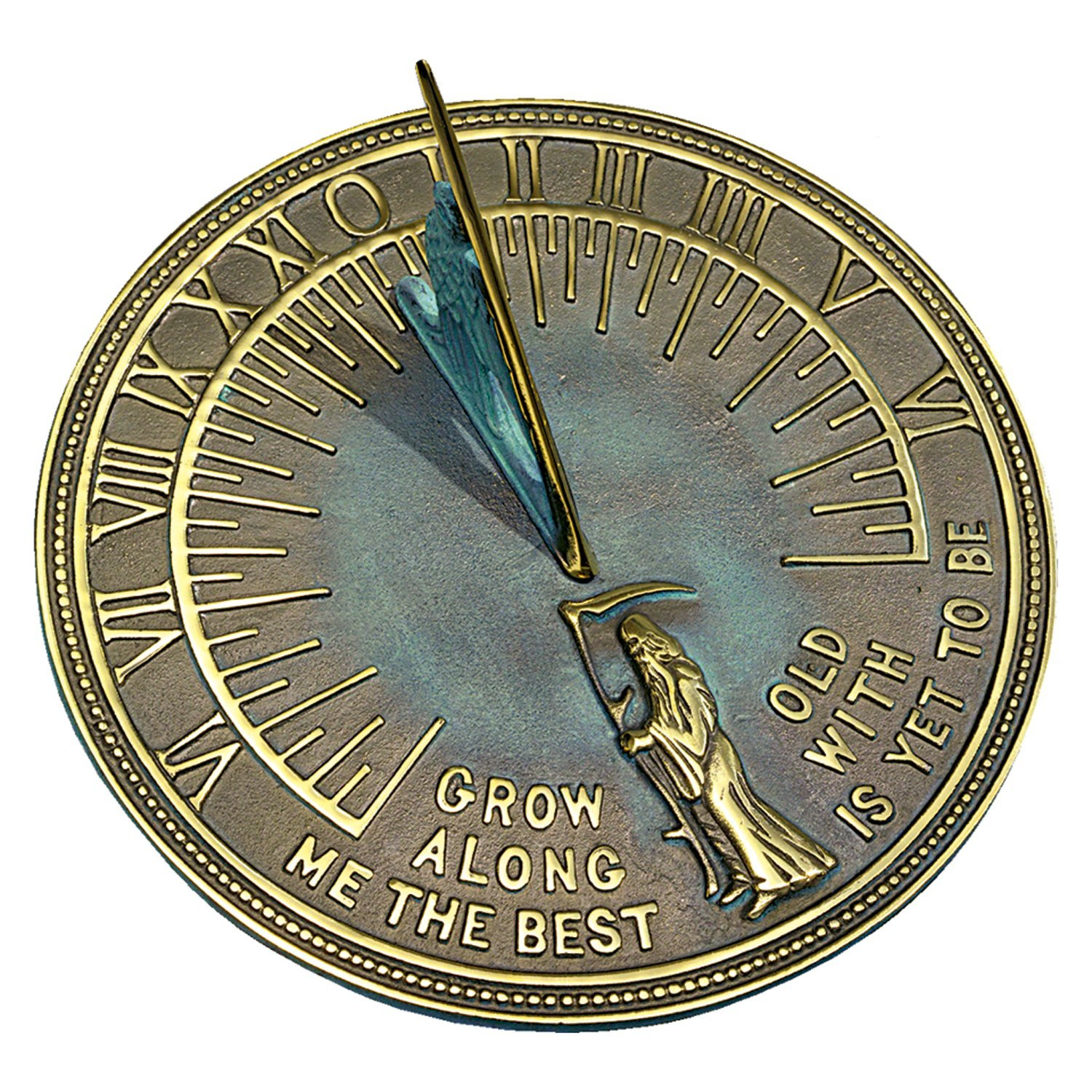 Sundial garden ornament - Rome Rm2345 Brass Father Time Sundial With Verdigris Highlights