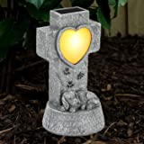 SUNNYPARK Dog Memorial Stone Solar Lights, Loss of Dog Memorial Sympathy Gifts Tombstone Grave Maker Dog Statue Garden…