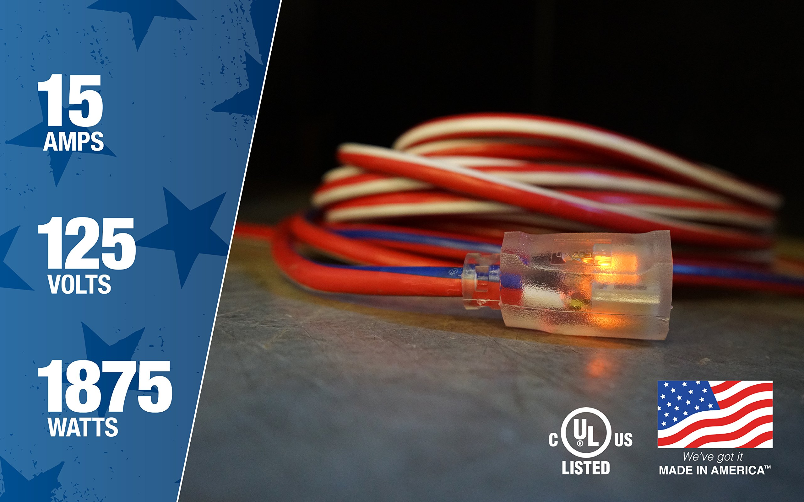 Southwire 2549SWUSA1 100-Feet Contractor Grade 12/3 with Lighted End American Made Extension Cord by Southwire (Image #6)