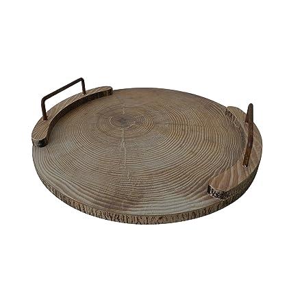 Ronda bandeja de madera con asa de metal madera bandeja para servir de vajilla